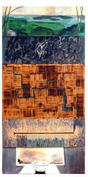 Plegaria No. 1, mixta sobre madera, 244 x 122 cm