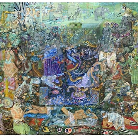 The assembly of Rama, Oil on wood, 16 x 22 in, 2020 – 2021