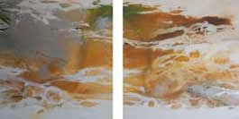 Díptico Amarillo I. Mixta sobre tela. 200 X 400 cm (díptico)