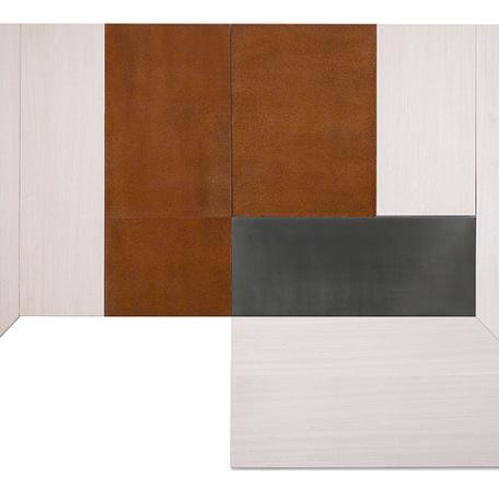 CUARTO BLANCO OXIDO, Madera Egipcia Laminada, Plomo y Acero / Aluminio 165 x 280 cm, 2018, Edición 173